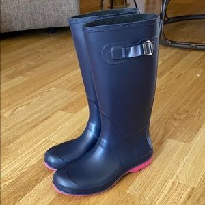 Navy and Pink Rain Boots